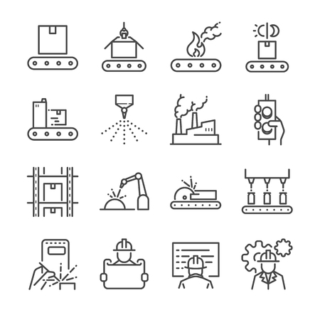 Manufacturing line icon set. Included the icons as process, production, factory, packing and more.