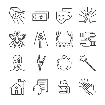Icono de línea de rendimiento establecido. Incluimos los íconos como máscara, mímica, escenario, concierto y más. Ilustración de vector