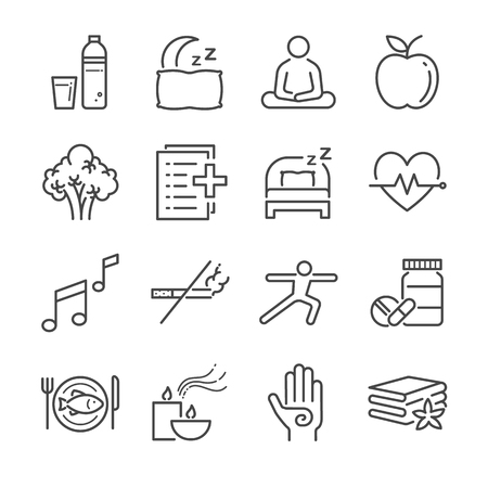 running: Wellness life line icon set. Included the icons as water, spa, good sleep, exercise, mental health and more.