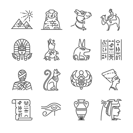 cleopatra: Egypt line icon set. Included the icons as Pharaoh, pyramid, mummy, Anubis, Camel and more.