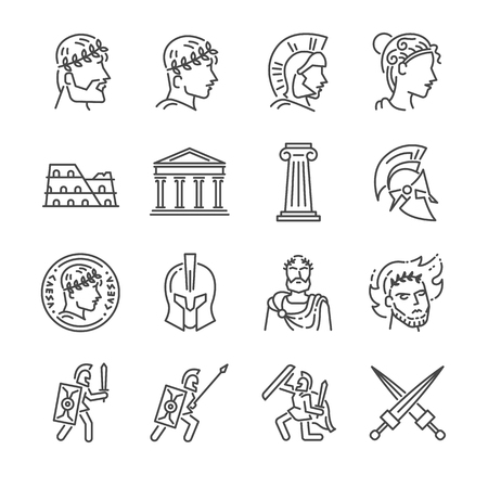 Roman empire line icon set. Included the icons as soldier, column, coliseum, sanctuary, emperor and more.