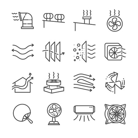 Airflow line icon set. Included the icons as airflow, turbine, fan, air ventilation, Ventilators and more. Illustration
