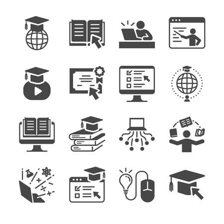 オンライン教育のアイコンを設定します。卒業、書籍、学生、コース、学校としてのアイコンが含まれています。