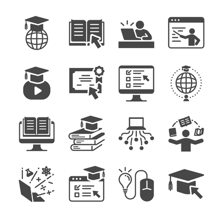 Online education icon set. Included the icons as graduated, books, student, course, school and more.