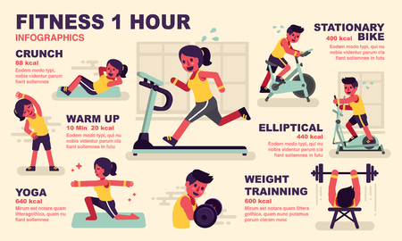 Infographic illustration: Cardio and Workout 1 hour