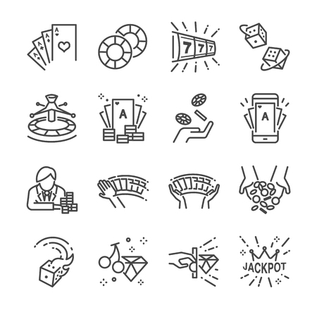 Casino and gamble line icon set. Included the icons as cards, dice , lotto, poker, slot machine, jackpot and more. Ilustração