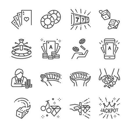 Conjunto de iconos de línea de casino y apuestas. Incluye los iconos como cartas, dados, lotería, póker, tragamonedas, bote y más.