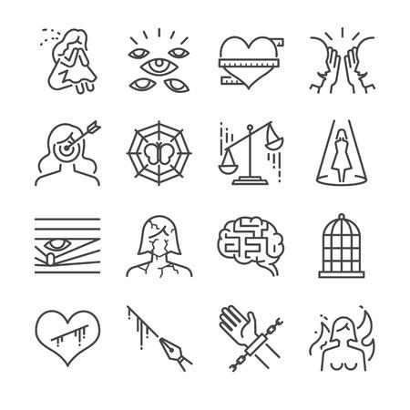 Icono de la línea de acoso y víctima. Incluimos los íconos como mujer, víctima, sufrimiento, tristeza, objetivo, encarcelamiento y más. Foto de archivo - 84219732