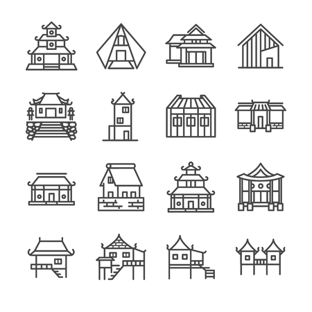 Asian property line icon set. Included the icons as Thai house, Japanese house , Chinese house, palace, home, estate and more. Illustration