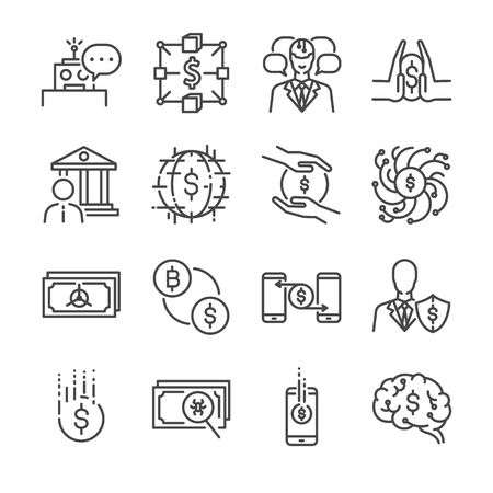 private security: Fintech line icon set. Included the icons as blockchain, robo-advisors, cashless society, crowdfunding, application, investing and more. Illustration