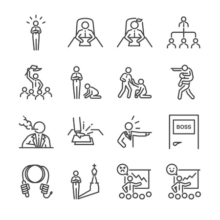 oppressive: Boss line icon set. Included the icons as leader, team, bossy, command, manager, chief and more. Illustration