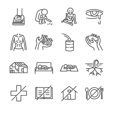 Conjunto de iconos de líneas de destitución. Incluye los iconos como escroto, flaco, hambriento, sin hogar, mendigo, pobre y más.