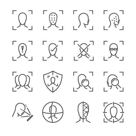 Face ID line icon set. 向量圖像