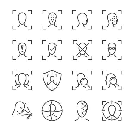 Face ID line icon set. Stock Illustratie