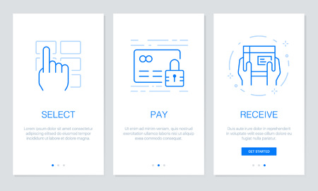 Onboarding app screens in shopping online concept. Modern and simplified vector illustration walkthrough screens template for mobile apps. Illustration