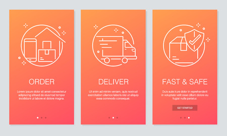 Online delivery concept onboarding app screens. Modern and simplified vector illustration walkthrough screens template for mobile apps. Illustration