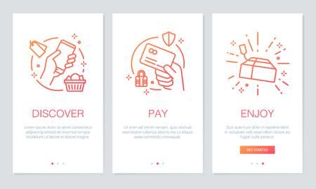 쇼핑 온라인 개념 onboarding 애플 리케이션 화면. 모바일 애플 리케이션을위한 현대적이고 단순화 된 벡터 일러스트 연습 화면 템플릿.