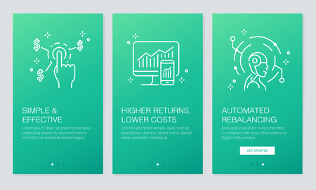 Financial and Fintech concept on boarding app screens.