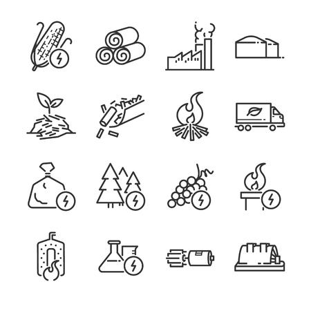 Biomass line icon set.