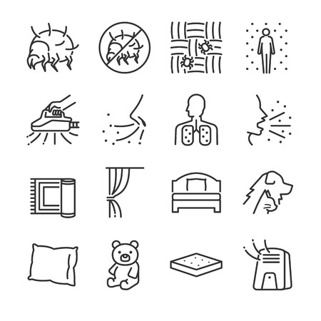 Dust mites line icon set Includes icons of dust mites, flea, bed bugs, bedroom, bed, bugs killer and more.