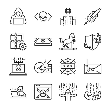 Hacker icon set. Included the icons as hacking, malware, worm, spyware, computer virus, criminal and more. Illustration