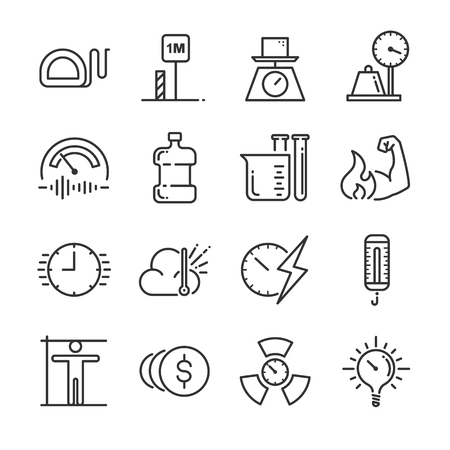 Unit of measurement icon set. Included the icons as miles, meter, tonne, kilogram, decibel, degrees Celsius and more. Illustration