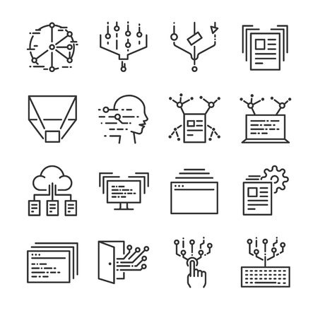 Big data icon set. Included the icons as data, cloud, transfer, filter, analysis, digital and more.