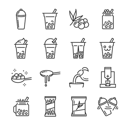 Bubble tea icon set. Included the icons as bubble, milk tea, shake, drink, pouring, boba juice and more. Illustration