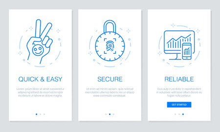 Onboarding app screens. Modern and simplified vector illustration walkthrough screens. UI template for mobile apps, smart phone or web site banners.