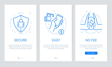 Onboarding payment app screens Modern and simplified vector illustration walkthrough screens. UI template for mobile apps, smart phone or web site banners. Illustration