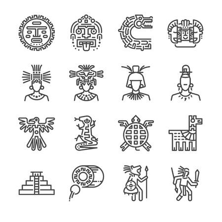 Conjunto de iconos Azteca. Incluye los iconos como maya, maya, tribu, antigüedad, pirámide, guerrero y más.