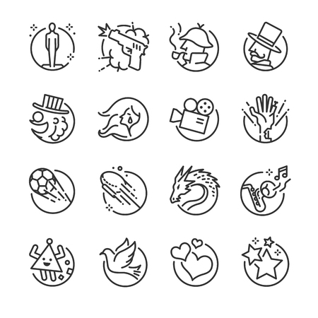 Movie genres icon set. Included the icons as action, dramas, kids, documentaries, romance, thrillers and more.