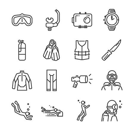 Scuba diving icon set. Included the icons as underwater, scuba diver, mask, fins, regulator, wetsuit and more. Illustration