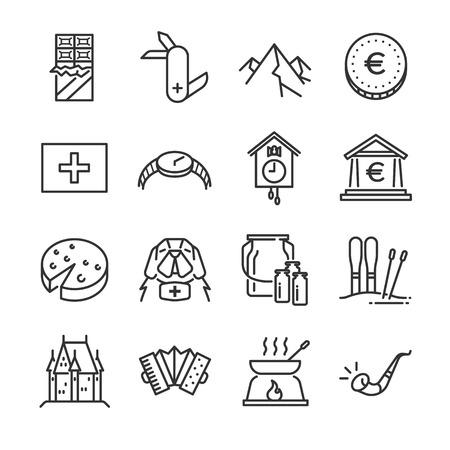Jeu d'icônes de la Suisse. Inclus dans les icônes: chien de sauvetage, lait, chocolat, fromage, montagne des Alpes, pièce en euro, château, etc. Banque d'images - 92519938