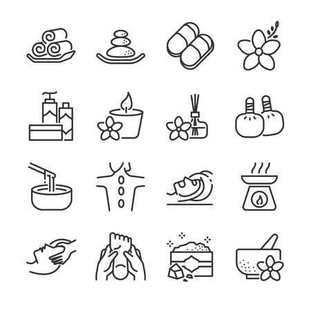 Spa icon set. Included icons are candle, aromatic, massage, relax, products, salt, hot stone and more. Stock Vector - 93071620