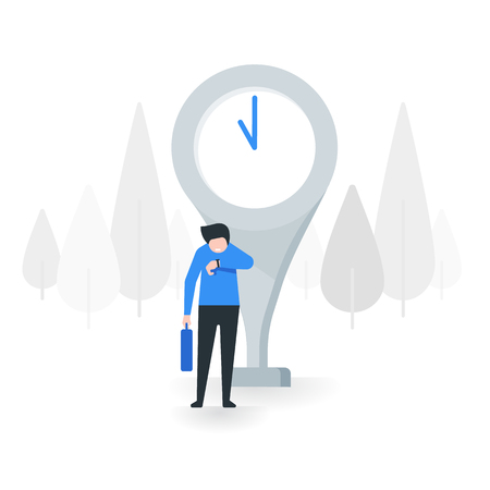 Young man looking at his watch and waiting for someone, vector illustration with flat design concept.