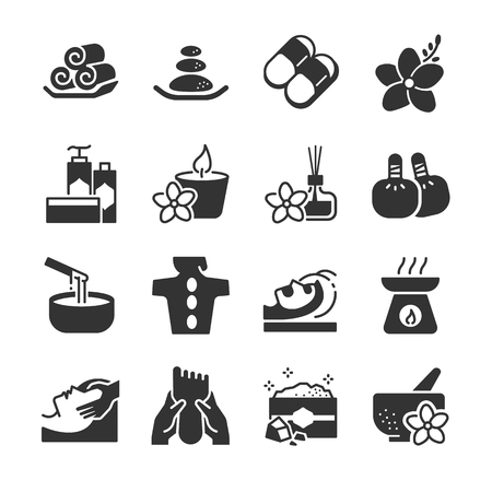 Spa icon set. Included the icons as candle, aromatic, massage, relax, products, salt, hot stone and more. Stock Vector - 93267771