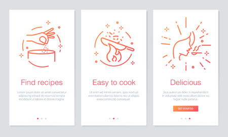 Food and recipes concept on boarding app screens. Modern and simplified vector illustration. Walk through screens template for mobile apps. 일러스트