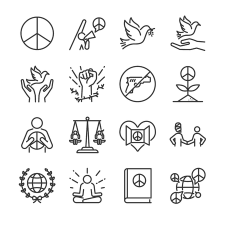Human rights line icon set. Included the icons as moral, peace, activism, dove, freedom, open mind, global and more. Ilustracja
