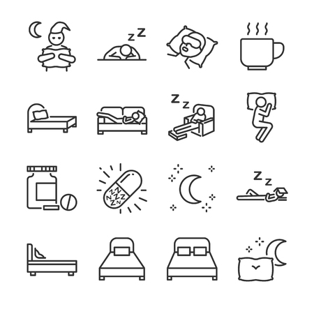 Sleep line icon set. Included the icons as insomnia, sleepless, bed, bedtime, sleepwalk, night, sleeping pill and more. Illustration