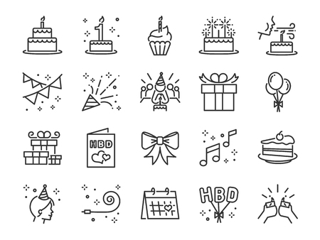 Happy Birthday Party line icon set. Included the icons as celebration, anniversary, party, congratulation, cake, gift, decoration and more.