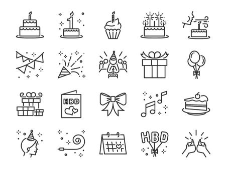 Zestaw ikon linii Happy Birthday Party. Zawiera ikony jako uroczystość, rocznicę, przyjęcie, gratulacje, ciasto, prezent, dekorację i nie tylko.