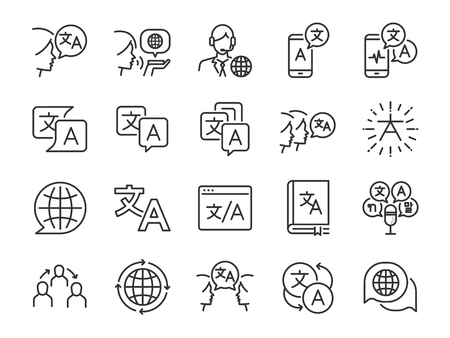 Translation line icon set. Included the icons as translate, translator, language, bilingual, dictionary, communication, bi-racial and more. Illustration