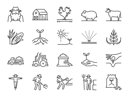 Farm and agriculture line icon set. Included the icons as farmer, cultivation, plant, crop, livestock, cattle, farm, barn and more.