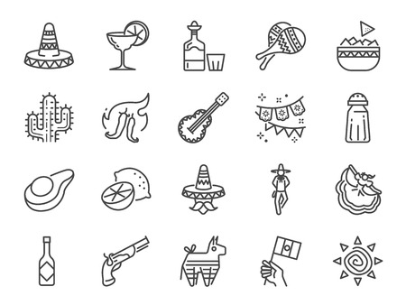 Mexican line icon set. Included the icons as maracas, traditional hat, nacho and more.