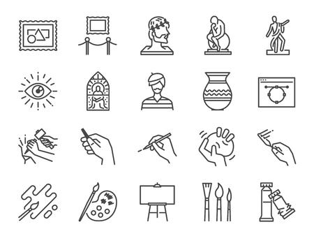 Kunst-Icon-Set. Enthielt die Symbole als Künstler, Farbe, Farbe, Skulptur, Statue, Bild, alter Meister, künstlerisch und mehr.