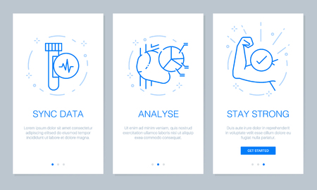 Health and medical concept on boarding app screens. Modern and simplified vector illustration walk through screens template for mobile apps.
