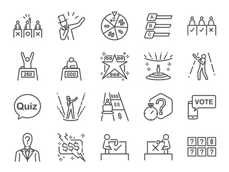 Game show icon set. Included the icons as singer, quiz, prize, competition, contest, judging panel, TV program and more.