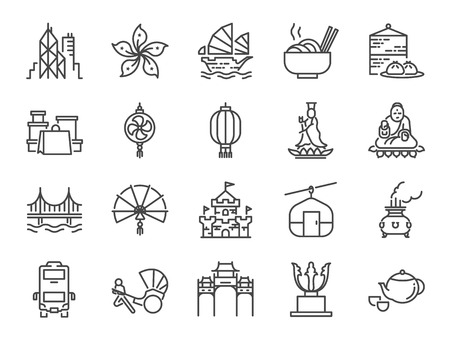 Hong Kong travel icon set. Included the icons as City, barque, Tian Tan Big Buddha , Guan Yin statue, cable car, Dim sum, landmarks, attractions and more