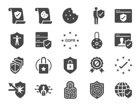 Privacy policy icon set. Included the icons as security information, GDPR, data protection, shield, cookies policy, compliant, personal data, padlock Vector illustration. Banco de Imagens - 99695705